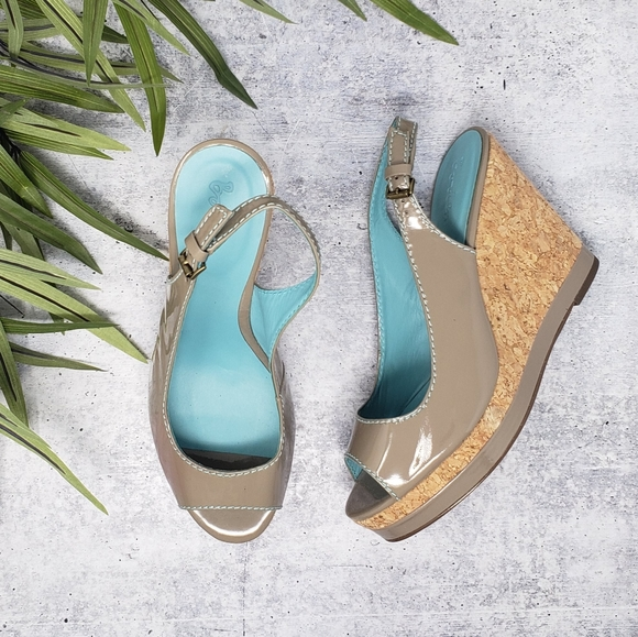Boden | Patent Peep Toe Wedge Sandals
